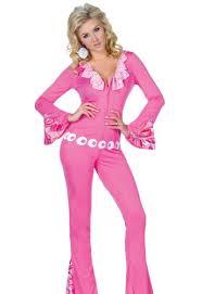 pink jumpsuit womens underwraps womens 60s 70s disco costume leisure