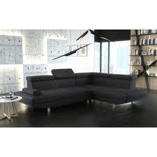 canapé d angle noir simili cuir canapé d ange 4 places stario avec têtières réglables en tissu ou