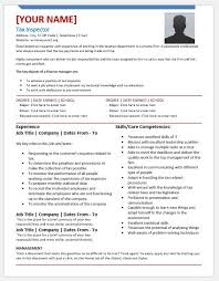 Inspector Resume Sample by Tax Inspector Resume Templates For Ms Word Resume Templates