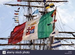Navy Flag Meanings Italian Navy Flag On Amerigo Vespucci Ship Stock Photo