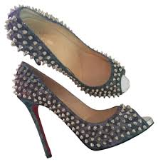 christian louboutin spikes open toe loubs party metallic blue