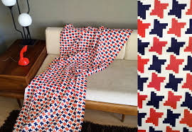4 yds vintage 60s mod houndstooth fabric red white blue mad men