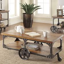 coffee table new rustic metal steel rivets coffee table wheels