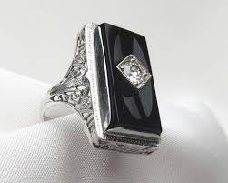onyx engagement rings deco onyx diamond 10kt white gold filigree ring