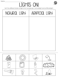 students will identify artificial and natural light sources in