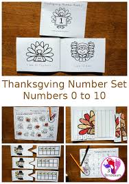thanksgiving themed number set 0 to 10 3 dinosaurs