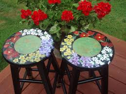 Bar Stool Top Buy Custom Painted Floral Bar Stool 24 Inches Or 29 Inches Made
