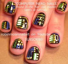 easy geek nail art for short nails computer nerd nails design