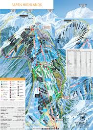 Colorado Ski Areas Map by Aspen Highlands Winter Trail Map Aspen Snowmass