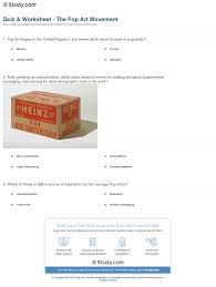quiz u0026 worksheet the pop art movement study com