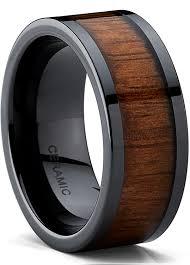 black ceramic flat top wedding band ring with real koa wood inlay