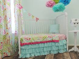 aqua pink yellow and green toddler bedding set with aqua