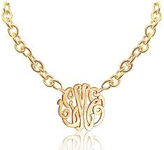 Custom Monogram Necklace Handmade Small Monogram Necklace With Large Chain Customize It