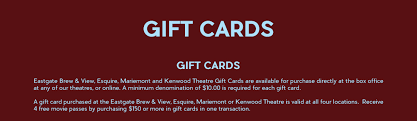 theater gift cards gift cards kenwood theatre