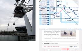 Cable Car Map Advertising The Emirates Cable Car At Greenwich Peninsula And