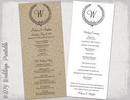wedding ceremony programs template wedding program template rustic black leaf garland