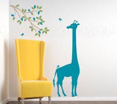 Giraffe Wall Decals For Nursery Safari Jungle Decal Giraffe Wall Decal With Branch And Birds