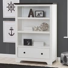delta providence bookcase with drawer white and textured black