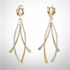 gold dangle earrings crossover dangle earrings 14k yellow and white gold