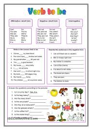 worksheets verb to be u2013 show and text