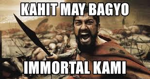 Shouting Meme - kahit may bagyo immortal kami king leonidas shouting meme generator