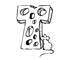printable letter t cheese and mouse coloring page from