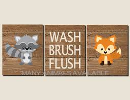 bathroom decor kids bathroom art woodland animals rustic
