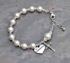 baby rosary bracelet will you be my godmother rosary bracelet all white pearls