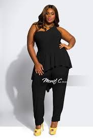 trendy jumpsuits kerri one shoulder plus size jumpsuit black monif c plus size