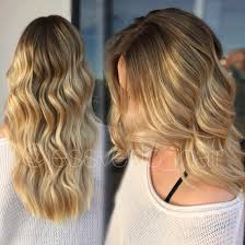 warm golden blonde balayage ombre with shadow root beachy wave