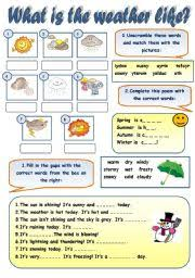 what is the weather like weather vocabulary practice for