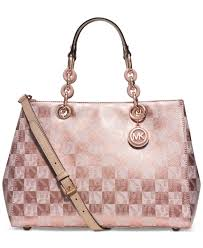 light pink michael kors handbag lyst michael kors michael cynthia medium satchel in pink