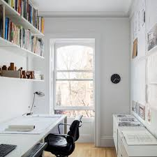 small study room home office scandinavian with floating shelves