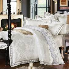 whole 4 white jacquard silk cotton luxury bedding set king size queen bed set lace duvet cover bed sheet pillowcase designer bedding sets bedding quilts