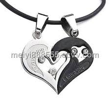 stainless steel heart necklace images New men women couple necklace heart pendant stainless steel jpg