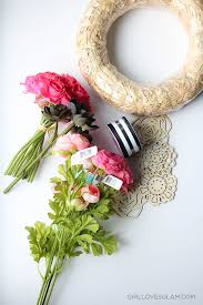 wreath supplies easy stripe and floral wreath girl glam