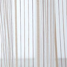 bedroom and living room beige sheer curtains with striped patterns