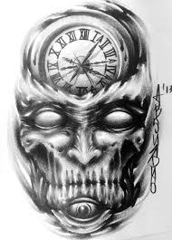 scary clock skull tattoo design best tattoo designs