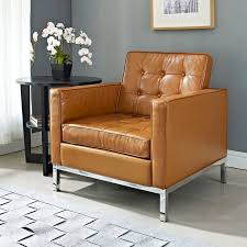 Florence Style Tan Leather Armchair Midcentury Armchairs And Tan