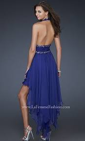 casual royal blue high low plunging neckline beaded waistline