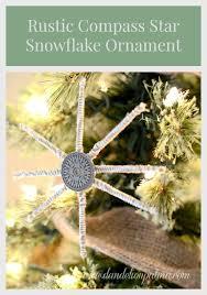 rustic compass snowflake ornament dandelion patina