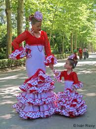 flamenco style mother and daughter at the seville fair seville