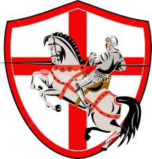 English Flag English Knight Rider Horse England Flag Retro Royalty Free Stock