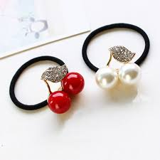hair bands for white simulated pearl leaf cherry elastic hair rubber