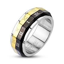 numeral ring 316l stainless steel black gold ip numeral dual spinner