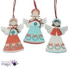 gisela graham wooden hanging angel fairy wings christmas xmas tree