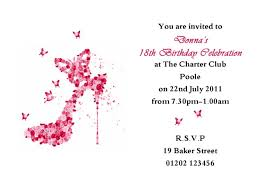 Example Of Birthday Invitation Card Remarkable 18th Birthday Party Invitation With Pink Shoe Picture
