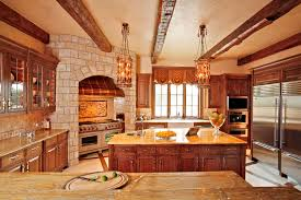 love the brick around the stove and the double refrigerator would