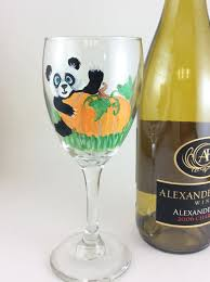 Unique Housewarming Gifts by Panda Lover Gifts Hand Painted Glass Wine Lover Gift New Home