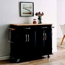 kitchen storage cupboard on wheels wood top multi storage cabinet rolling kitchen island table cart w wheels black